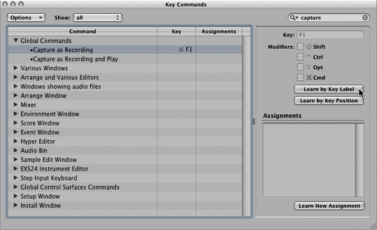 Assign Key Command in Logic Pro