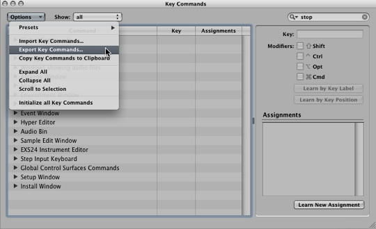 Export Key Commands to save them